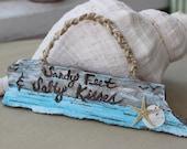 Sandy Feet & Salty Kisses Driftwood Wedding Sign , Beach Wedding Decoration , Nautical Wedding Decor , Photo Prop