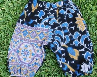 Hippie Harem pants - Purple Blue Sunflower - Baby size 6 to 9 months-read measurements