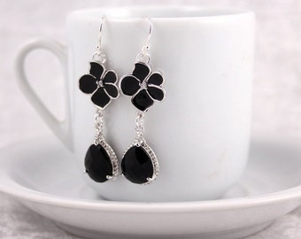 Bridesmaid Jewelry Black Orchid Wedding Earrings Ebony