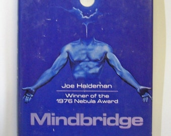 Vintage Book, Joe Haldeman, Nebula Award 1976, Mindbridge, Science Fiction, Interstellar war, Novel, Blue, Gifts for Him, GIfts for Her