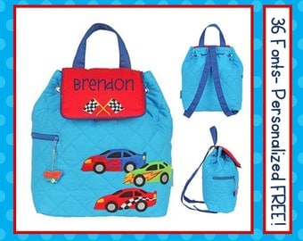 36 Fonts-Toddler Boy's RACE CAR Personalized Blue Backpack- Quilted Book Bag Monogrammed FREE