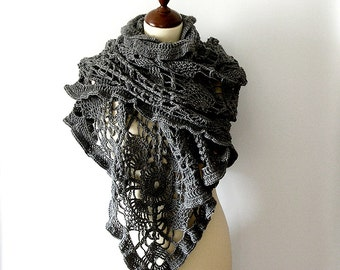 Grey Lace Shawl Stole Crochet Lace Scarf