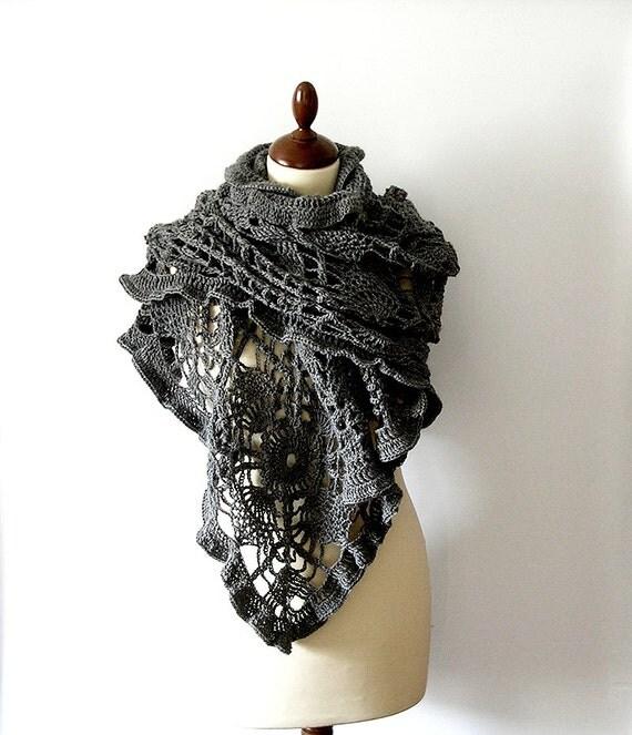 Grey Lace Shawl Stole Crochet Lace Scarf