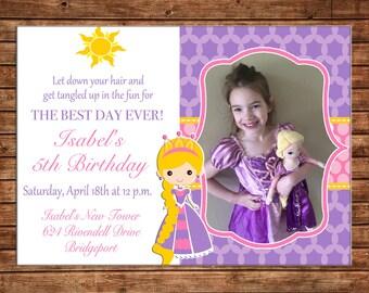 Girl Photo Picture Princess Birthday Party Invitation - DIGITAL FILE