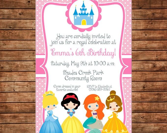 Girl Invitation Princess Castle Royal Celebration Birthday Party - Can personalize colors /wording - Printable File or Printed Cards