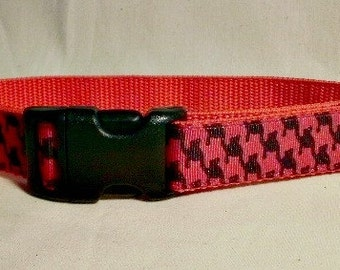 Red Dog Collar, Checked Dog Collar, Medium Dog Collar, One Inch Dog Collar, Ribbon Dog Collar,