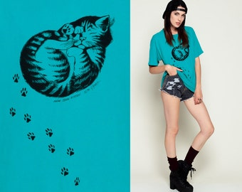 Cat Shirt Kitten Tshirt Animal Top Maine Coon 80s 90s Graphic T Shirt PAW PRINT Screen Print Tee Turquoise 1980s Vintage Small Medium