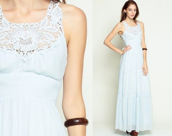 Hippie Maxi Dress 70s CROCHET LACE Cut Out 1970s Bohemian Empire Waist TIERED Cutwork Boho Pastel Sun Festival Baby Blue Extra Small xs