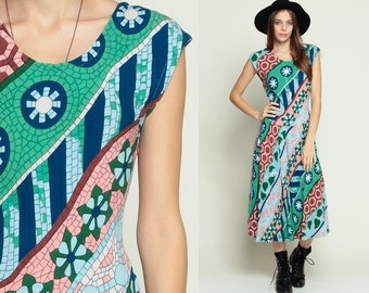 Drop Waist Dress 80s MOSAIC Floral Print Bohemian Geometric Print Striped Midi 1980s Boho Sleeveless Vintage Low Back Blue Green Small