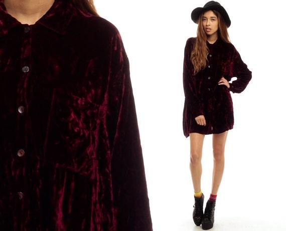 Red velvet shirt 90s grunge blouse button up top by shopexile for Red velvet button up shirt