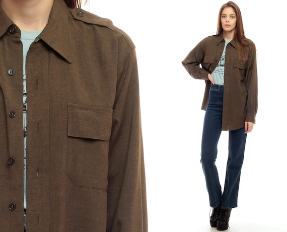 Army shirt jacket green military shirt 70s olive brown cargo for Olive green oxford shirt