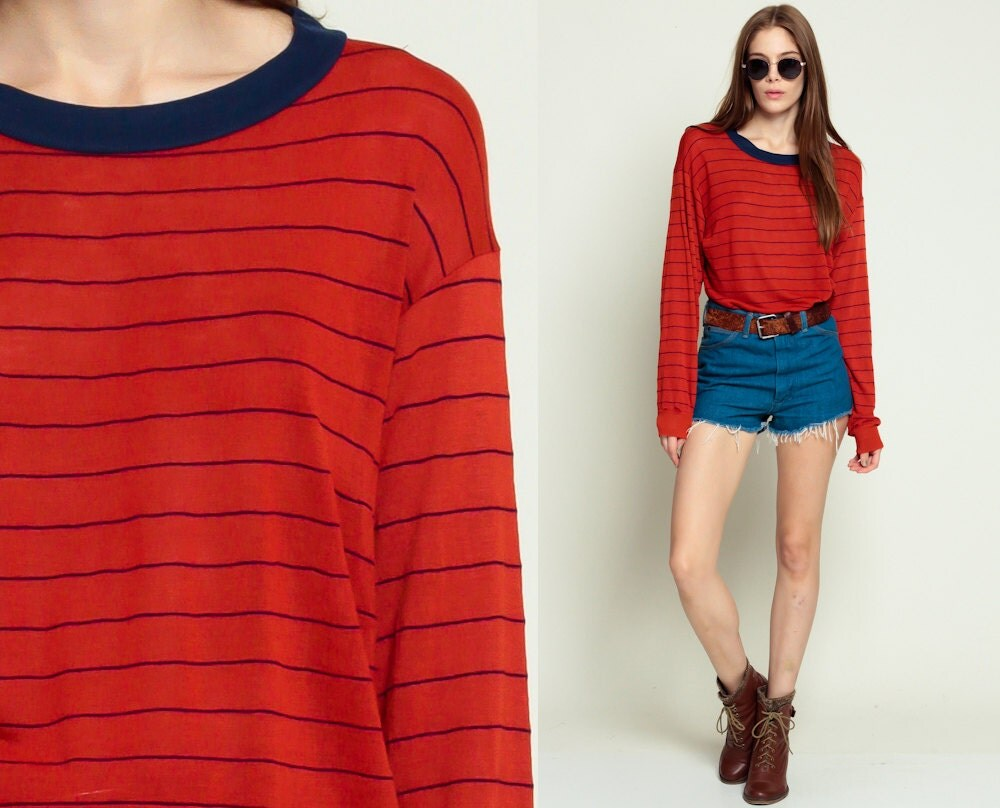 Striped shirt long sleeve shirt ringer tee red stripe navy for Red blue striped shirt