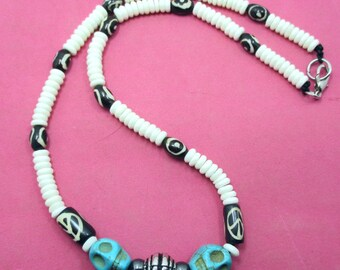 surf,surfer white bone beads skull tibetan yak bone beads hematite necklace