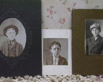 Lot/3 Antique Gem Type Photos-Handsome Young Boys w/Hats-Pin-Ties-Fashion-NY