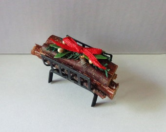 1/12 Scale (Dollhouse) Black Metal Grate with Holiday Logs and Decorations - Hand Crafted Accessory - Indoor Fairy Gardens