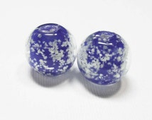 LOOSE BEADS - Lampwork Glass Art Beads - Glow In the Dark Egyptian Blue and Clear Rounds (2 beads) - gla925