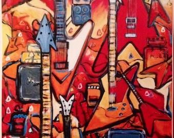 Music Poster 'Flying V's & Explorers' Electric Guitar Art Print of my Original Painting