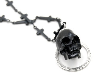 Gothic Necklace - Reaper Lariat - Memento Mori Black Skull and Tiny Cross Chain Lariat Necklace by Ghostlove