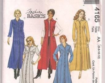 Demin Dress Pattern McCalls 4165 A line Dress, Princess Seams, Maxi Length, Sleeveless, Short or Long Sleeve, 6 8 10 12 Bust 30.5 - 34 Uncut