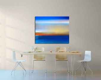 surreal contemporary modern wall decor wall hanging blue electric blue sea water abstract landscape