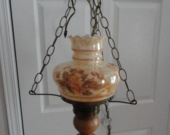 Vintage Hand Painted Hanging Gone with the Wind Lamp Glass Flowers 50s