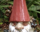 Gnome, snail, flower, stoneware, yard decor, garden decor, hand cast, hand glazed