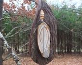 "Nature Mobile - ""Inner Growth"" - wood, ribbon stone, beach pebbles - Australian Natures Art"
