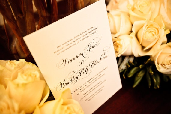 Traditional Calligraphy Wedding Invitation on Cotton Paper...Love No. 88...Ecofriendly
