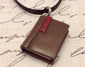 Polymer Clay Book Charm/Necklace, Bookworm/Reader Gift