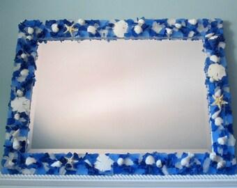 Sea Glass Mirror, Beach Glass Mirror, Beach Decor, Nautical Decor, Seaglass Mirror, Seashell Wall Mirror, Sea Glass Wall Mirror,  #CM3426SG