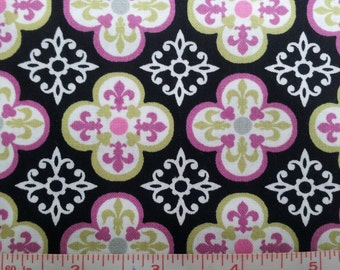 Orchid, Black and Lime Jarvis  Cotton Fabric by fat quarter, yard, or half yard,  quilt fabric, quilting fabric, black fabric