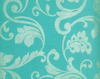 Turquois Cotton Fabric, Cotton quilt fabric, by the yard or half yard, or fat quarter, quilting fabric,