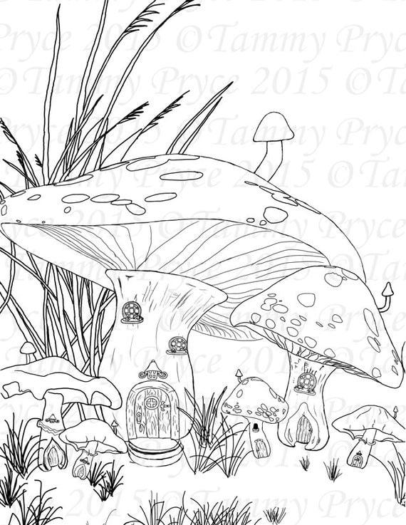 Fantasy Mushroom House Adult Coloring Page Digi Stamp Instant Download Printable PDF