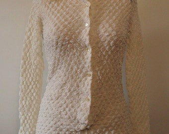 1970s Textured Snap Crotch Blouse/One Piece