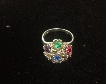 Vintage Sterling Silver Multi Stone Flower Ring