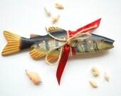 wooden fish pillow, alternative ring bearer pillow, engagement ring holder, beach wedding party, fisherman wedding, fishing, nautical, sea