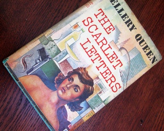 Vintage Book Mystery Ellery Queen The Scarlett Letters Little Brown Hardcover 1950s