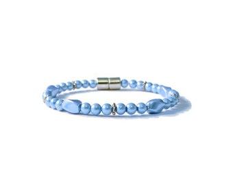 Light Sapphire Pearl Magnetic Hematite Bracelet, Pain Relief, Arthritis Jewelry