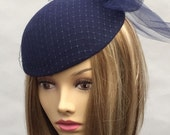 Kate, Fur Felt fascinator, with french netting, veiling,