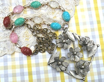 floral upcycle pin necklace assemblage scarab eco friendly