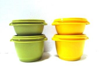 Choice Set of Vintage Tupperware Servalier Nesting Bowls w/ Thumb Press + Seal Lids, Yellow OR Green, Serve / Store Space Saving Set, Picnic