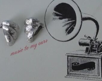 Signed KRAMER Brushed Silver tone Earrings.