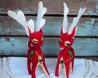 Vintage Christmas Deer Reindeer Decorations Figurines Large Antlers Stuffed Wired Bells Set Pair Retro 1950s