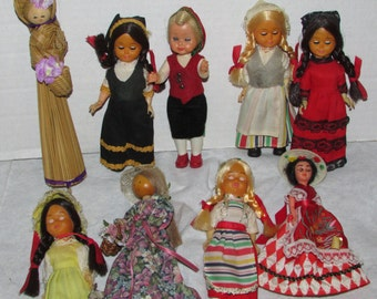 Collection Vintage DOLLS Ethnic FOREIGN Travel 1950s Celluloid Plastic Wooden