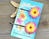 Pink and Yellow  Flower Bobby  Pins, 1 inch Flowers,   Floral Hair Pins, Plumeria