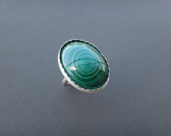 Large Malachite Sterling Silver Ring