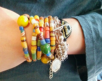 Upcycled wrapped bracelet with recycled glass made in Africa and Indonesia, ethical jewelry in Bohemian style RESERVED