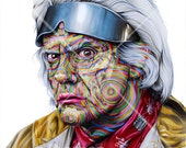 "Custom Doc Emmet Brown Back to the Future Portrait - Print 14"" X 11"""