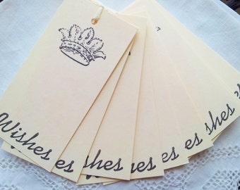Mini Wedding Wish Tree Tags French Inspired Crown Set of 25