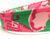 Lilly Pulitzer Fabric Dog Collar Girl Boy Multi All a Flutter Pink Green